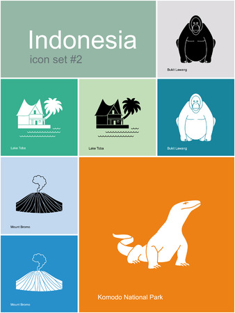 sumatra: Landmarks of Indonesia. Set of color icons in Metro style. Editable vector illustration.