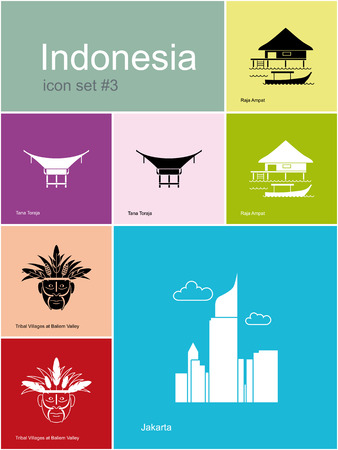 indonesia culture: Landmarks of Indonesia. Set of color icons in Metro style. Editable vector illustration.