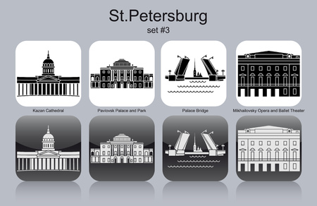 saint petersburg: Landmarks of St.Petersburg. Set of monochrome icons. Editable vector illustration.