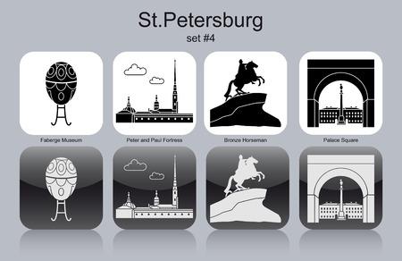 tsar: Landmarks of St.Petersburg. Set of monochrome icons. Editable vector illustration.