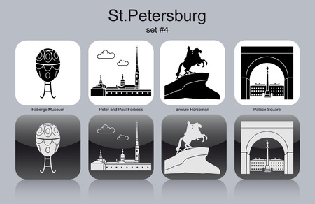 peter: Landmarks of St.Petersburg. Set of monochrome icons. Editable vector illustration.
