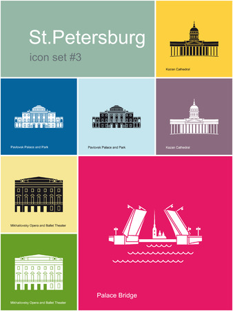 saint petersburg: Landmarks of St.Petersburg. Set of color icons in Metro style. Editable vector illustration.