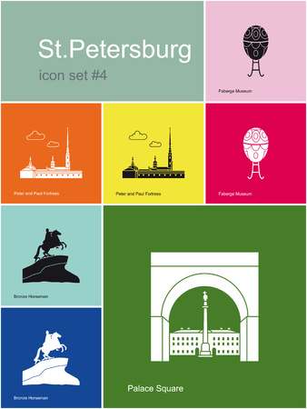 citadel: Landmarks of St.Petersburg. Set of color icons in Metro style. Editable vector illustration.