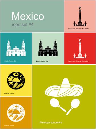 angel de la independencia: Monumentos históricos de México. Conjunto de iconos de colores en estilo Metro. Ilustración vectorial editable. Vectores