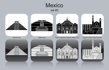 mexico: Landmarks of Mexico. Set of monochrome icons. Editable vector illustration.