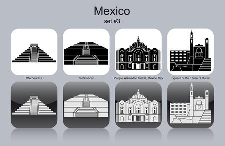central park: Monumentos hist�ricos de M�xico. Conjunto de iconos monocrom�ticos. Ilustraci�n vectorial editable. Vectores