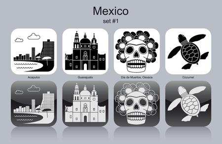 oaxaca: Landmarks of Mexico. Set of monochrome icons. Editable vector illustration.