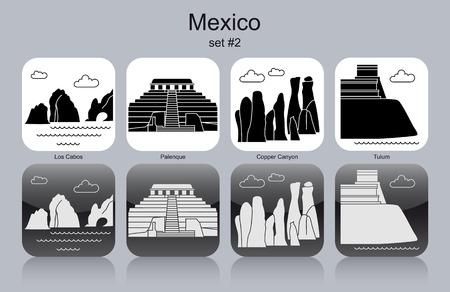 tulum: Landmarks of Mexico. Set of monochrome icons. Editable vector illustration.