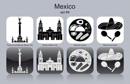 angel de la independencia: Monumentos históricos de México. Conjunto de iconos monocromáticos. Ilustración vectorial editable. Vectores