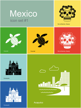 mexico beach: Landmarks of Mexico. Set of color icons in Metro style. Editable vector illustration.