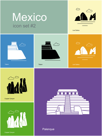 tulum: Landmarks of Mexico. Set of color icons in Metro style. Editable vector illustration.