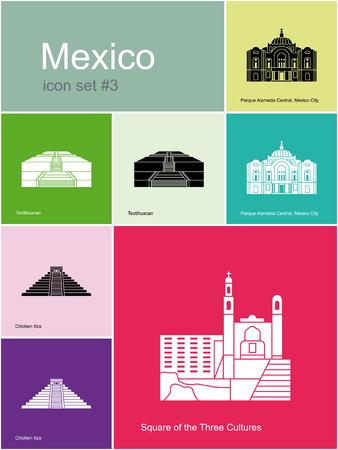 파멸: 멕시코의 랜드 마크. 메트로 스타일 색상 아이콘을 설정합니다. 편집 가능한 벡터 일러스트 레이 션.