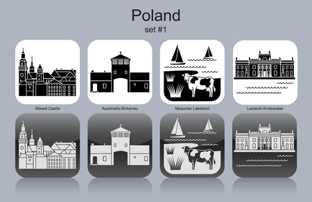 wawel: Landmarks of Poland. Set of monochrome icons. Editable vector illustration.