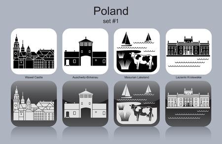 Monuments de la Pologne. Ensemble d'icônes monochromes. Modifiable illustration vectorielle. Banque d'images - 48052057