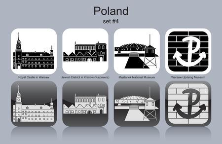 extermination: Landmarks of Poland. Set of monochrome icons. Editable vector illustration.