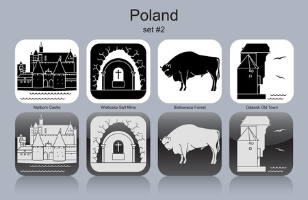 gdansk: Landmarks of Poland. Set of monochrome icons. Editable vector illustration.