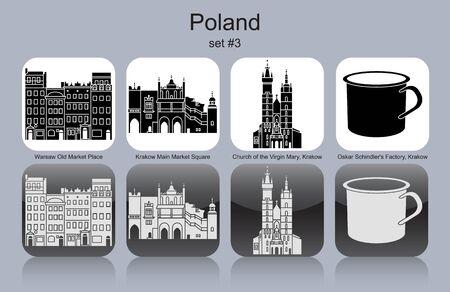poland: Landmarks of Poland. Set of monochrome icons. Editable vector illustration.