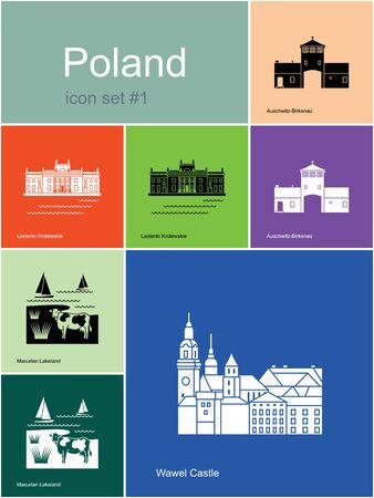 Monuments de la Pologne. Ensemble d'icônes de couleur dans le style Metro. Modifiable illustration vectorielle. Banque d'images - 48052147