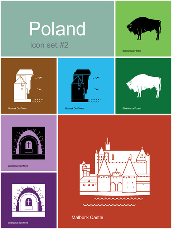old town: Landmarks of Poland. Set of color icons in Metro style. Editable vector illustration. Illustration