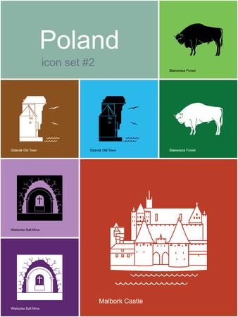 gdansk: Landmarks of Poland. Set of color icons in Metro style. Editable vector illustration. Illustration