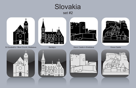ruins: Landmarks of Slovakia. Set of monochrome icons. Editable vector illustration. Illustration