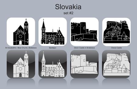 elizabeth tower: Landmarks of Slovakia. Set of monochrome icons. Editable vector illustration. Illustration