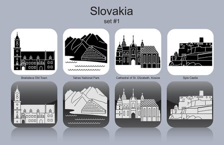 elizabeth tower: Landmarks of Slovakia. Set of monochrome icons. Editable vector illustration. Illustration