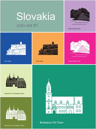 elizabeth tower: Landmarks of Slovakia. Set of color icons in Metro style. Editable vector illustration.