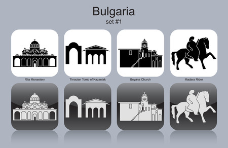 Landmarks of Bulgaria. Set of monochrome icons. Editable vector illustration. 向量圖像