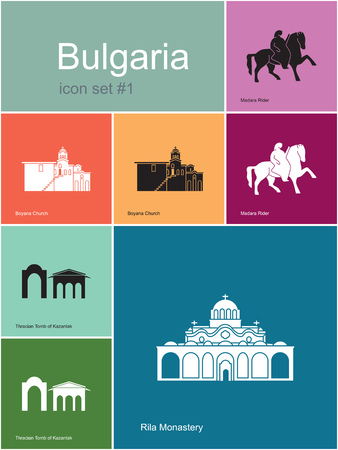 monastery: Landmarks of Bulgaria. Set of color icons in Metro style. Editable vector illustration.