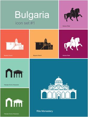 bulgaria: Landmarks of Bulgaria. Set of color icons in Metro style. Editable vector illustration.