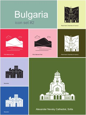monasteri: Limiti della Bulgaria. Set di icone di colore in stile Metro. illustrazione vettoriale modificabile.