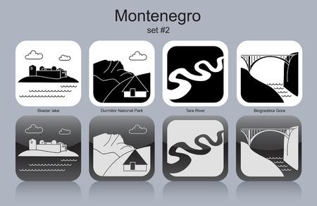 park icon: Landmarks of Montenegro. Illustration