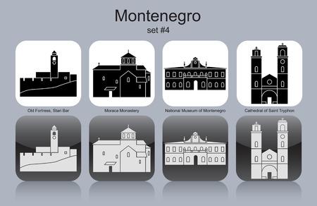 Landmarks of Montenegro. Set of monochrome icons. Editable vector illustration. Illustration
