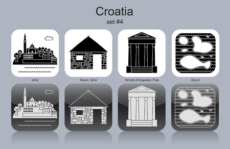 Landmarks of Croatia. Set of monochrome icons. Editable vector illustration.