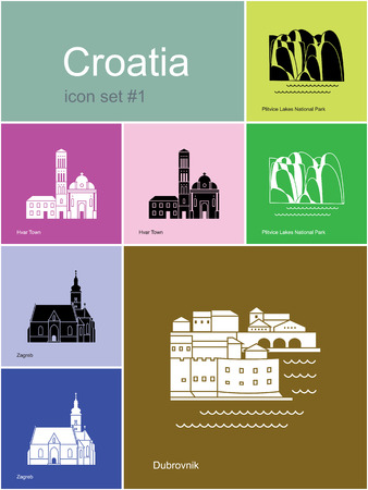 bell tower: Landmarks of Croatia. Set of color icons in Metro style.