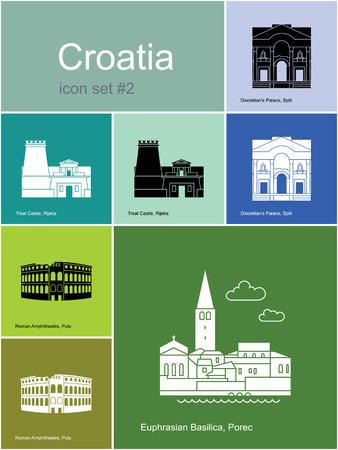 amphitheatre: Landmarks of Croatia. Set of color icons in Metro style.