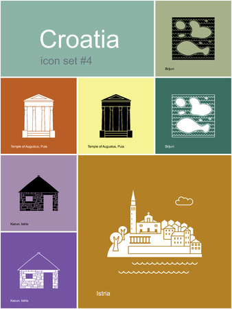 Landmarks of Croatia. Set of color icons in Metro style.
