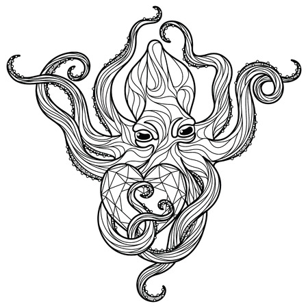 Zentangle octopus coloring page. Editable vector monochrome illustration. Illustration