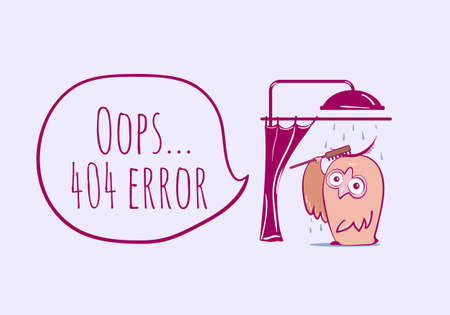 404 error, page not found with funny owl. Web page for site. Funny error 404 page illustration