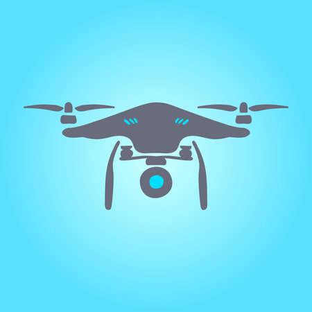 quad: Flying quad copter drone icon. Drone with action camera front. Illustration sketch quad-copter. Illustration