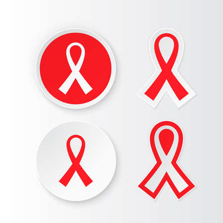 Set label Red Ribbon - symbol awareness pandemic AIDS  HIV. 1st December World Aids Day. Vector illustration red ribbon. Illustration