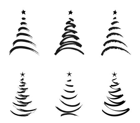 silhouette christmas trees isolated  on white  photo