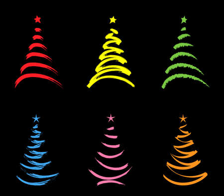 colored  stylized  christmas trees isolated  on black photo