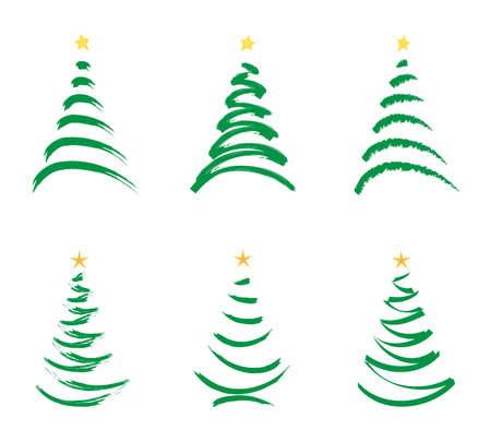 green stylized  christmas trees isolated  on white Stock Photo