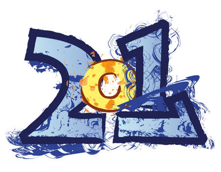 funny 2011 logo illustration on white bacground Stock Photo