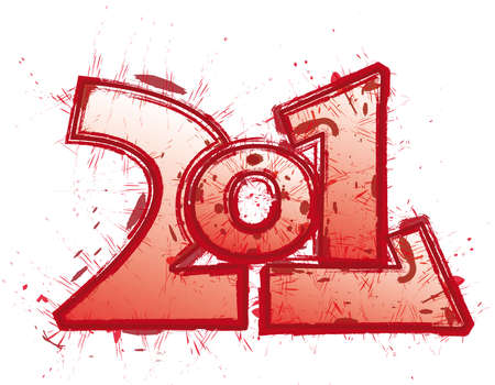 2011 funny red logo illustration Stock Photo