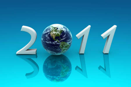 2011 Earth, reflected in a blue background photo