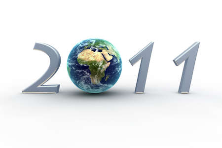 3D  New Year 2011 with Earth