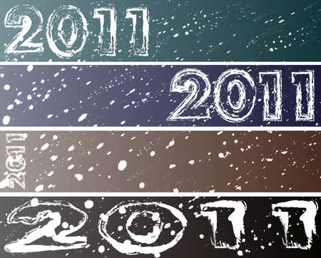 New Year four modern banners (46890)